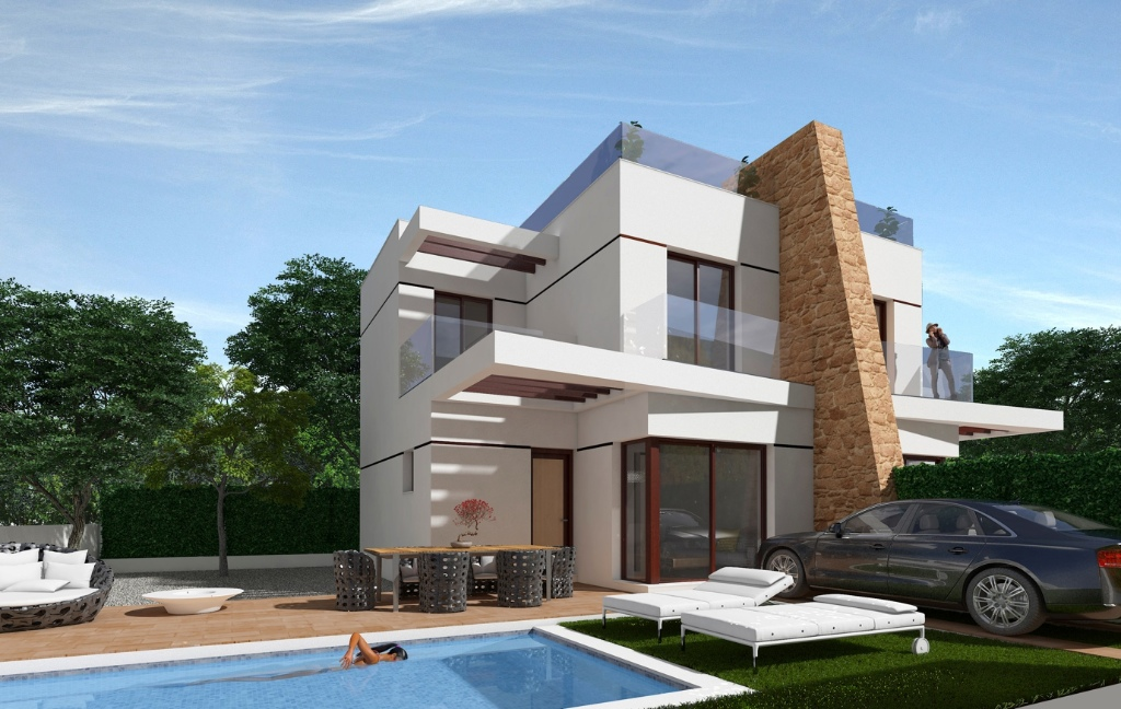 Selection of new build semi-detached villa�s in Villamartin with private swimming pool.    Curr,Spain